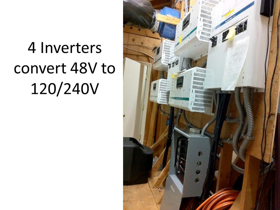 4 Inverters convert 48V to 120/240V