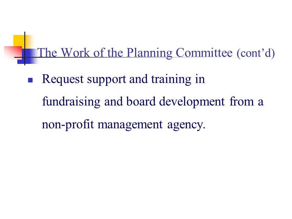 The Work of the Planning Committee (contd) Request support and training in fundraising and board development from a non-profit management agency.