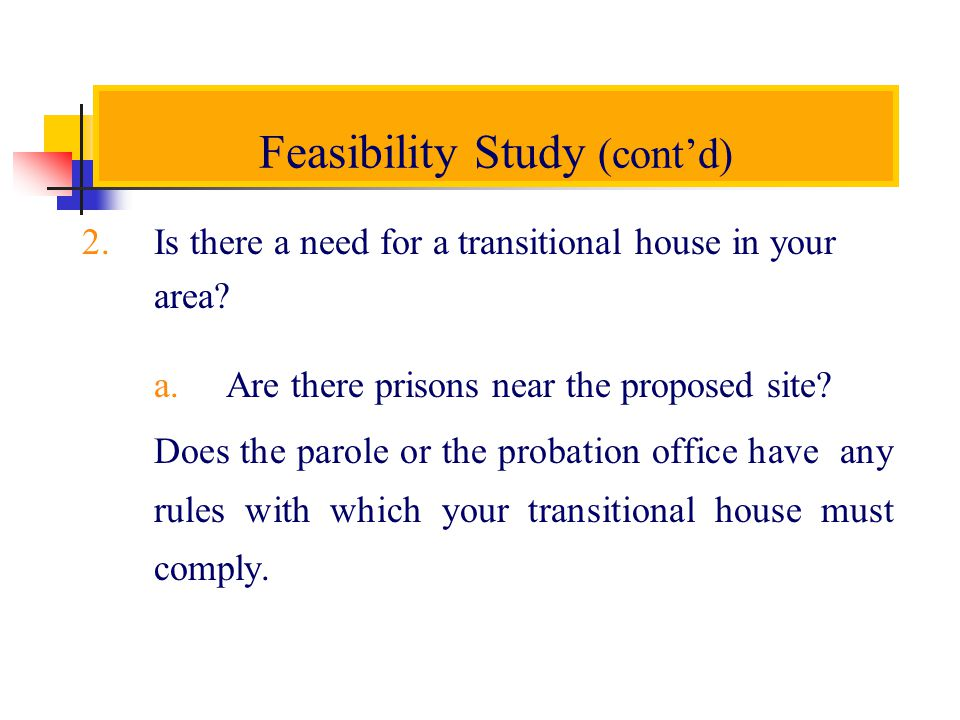Feasibility Study (contd) 2.Is there a need for a transitional house in your area.