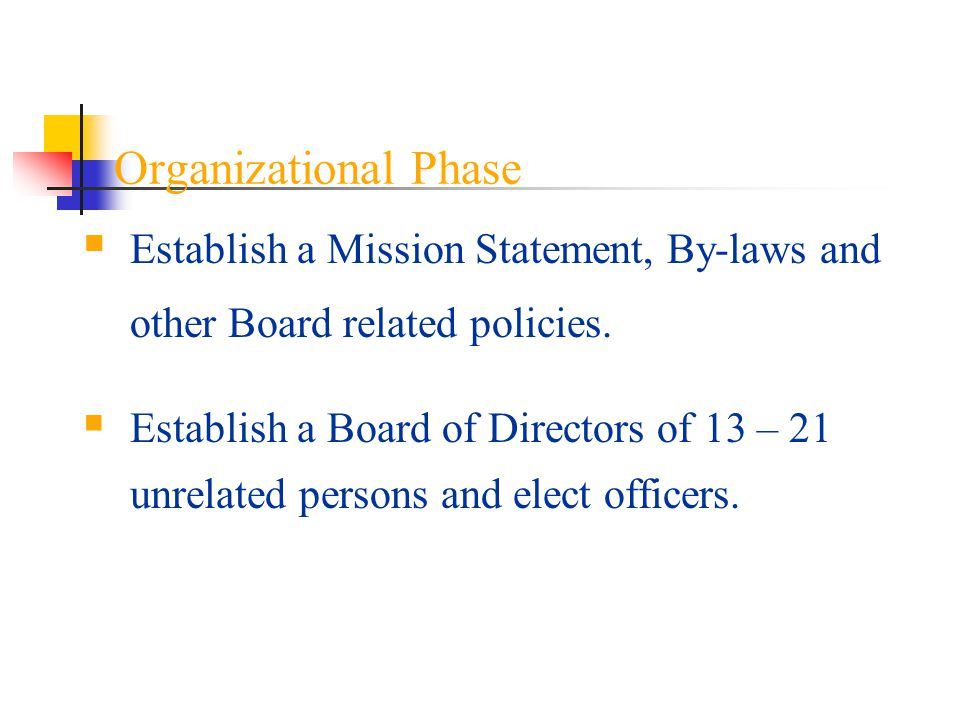 Organizational Phase Establish a Mission Statement, By-laws and other Board related policies.