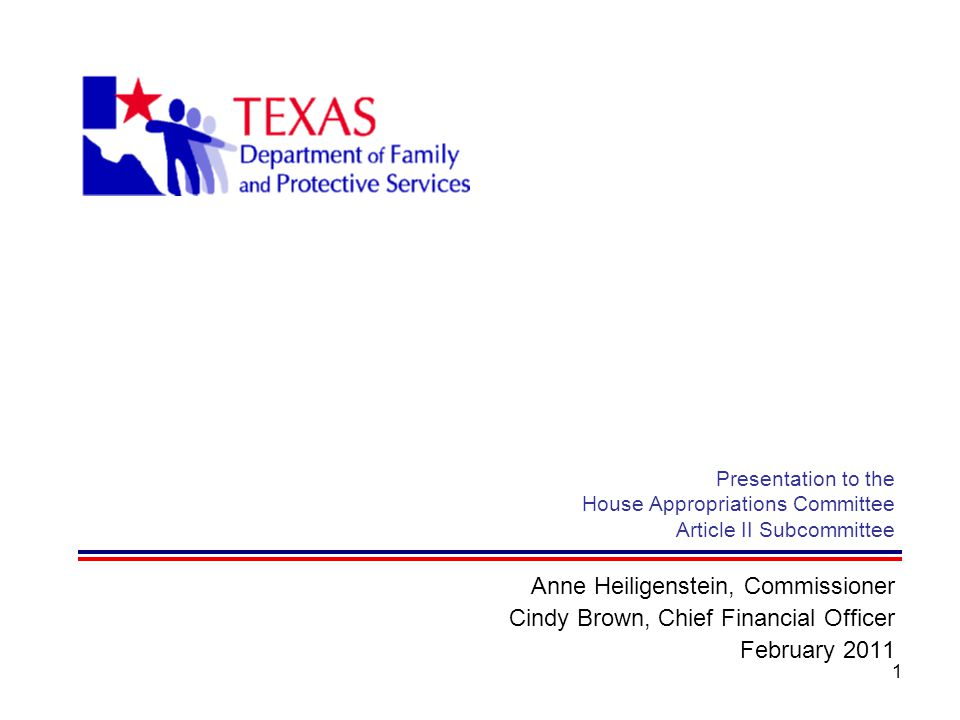 1 Presentation to the House Appropriations Committee Article II Subcommittee Anne Heiligenstein, Commissioner Cindy Brown, Chief Financial Officer Feb