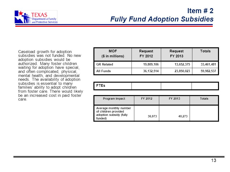 13 Item # 2 Fully Fund Adoption Subsidies Caseload growth for adoption subsidies was not funded.