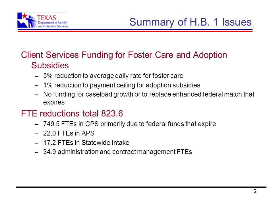 2 Summary of H.B. 1 Issues Client Services Funding for Foster Care and Adoption Subsidies –5% reduction to average daily rate for foster care –1% redu