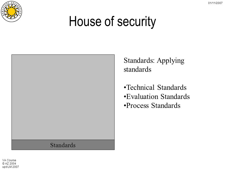 VA Course © AZ 2004 upd LM 2007 01/11/2007 House of security Standards Standards: Applying standards Technical Standards Evaluation Standards Process Standards