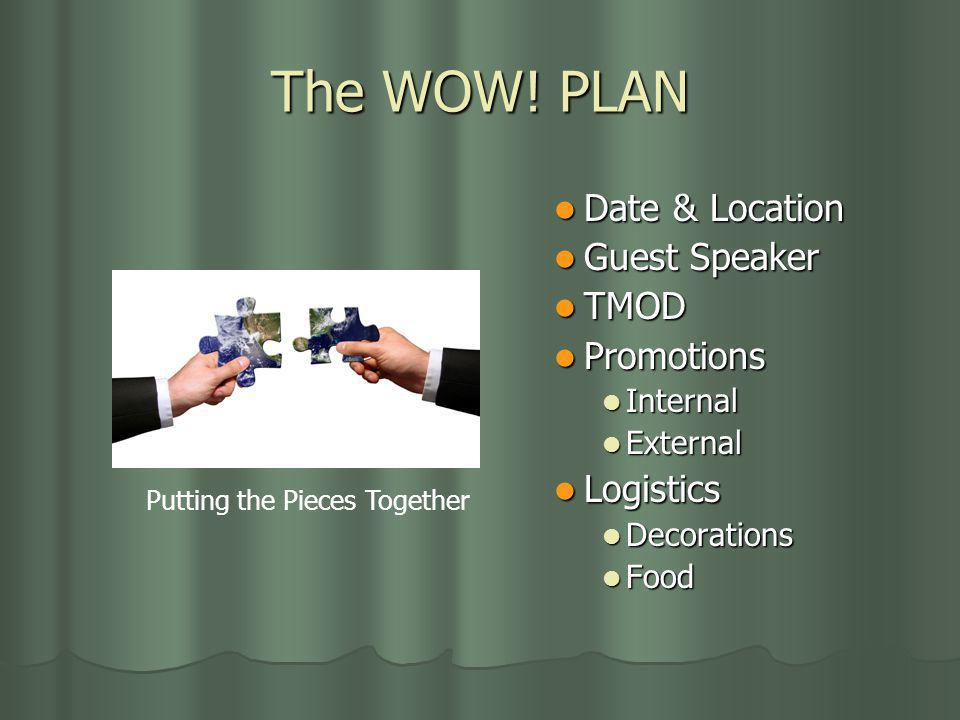 The WOW! PLAN Date & Location Date & Location Guest Speaker Guest Speaker TMOD TMOD Promotions Promotions Internal Internal External External Logistic
