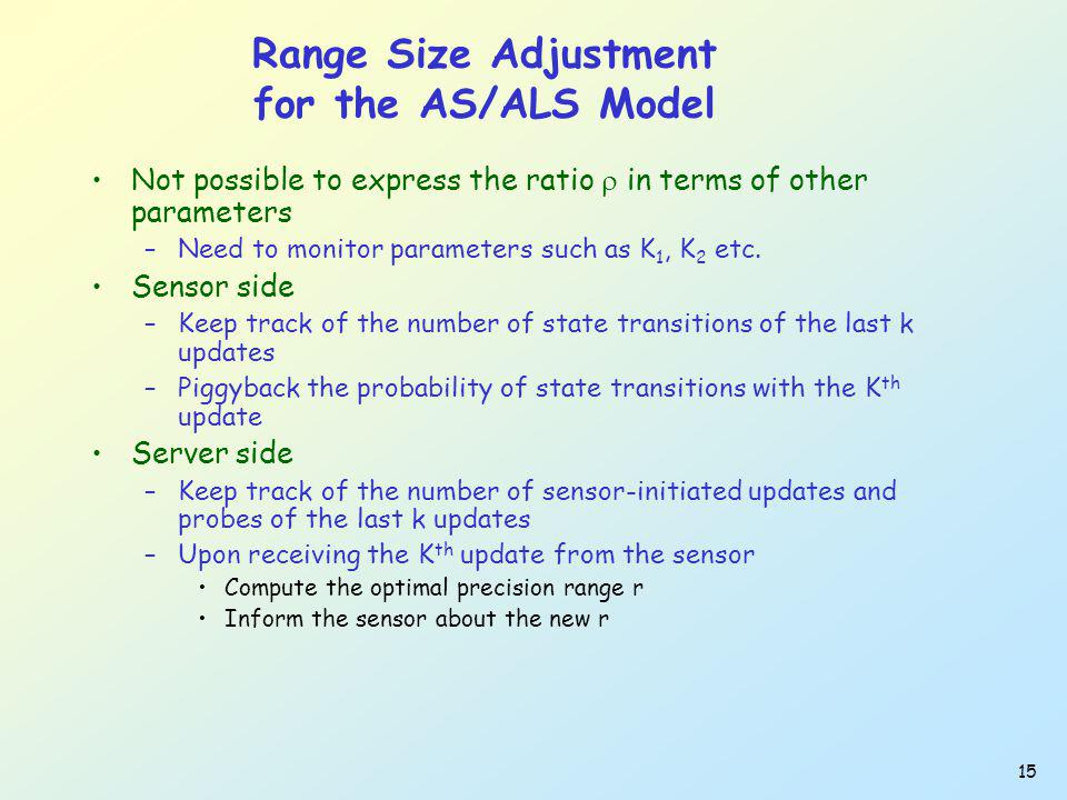 15 Range Size Adjustment for the AS/ALS Model Not possible to express the ratio in terms of other parameters –Need to monitor parameters such as K 1, K 2 etc.