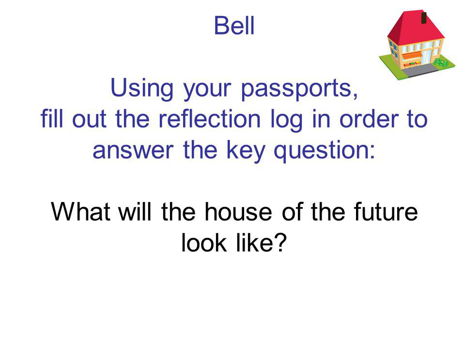 Starter Individually, brainstorm what you think the features of the house of the future will be.