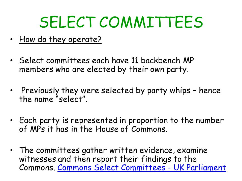 SELECT COMMITTEES How do they operate.