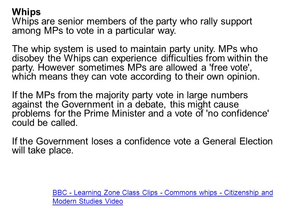 Whips Whips are senior members of the party who rally support among MPs to vote in a particular way. The whip system is used to maintain party unity.