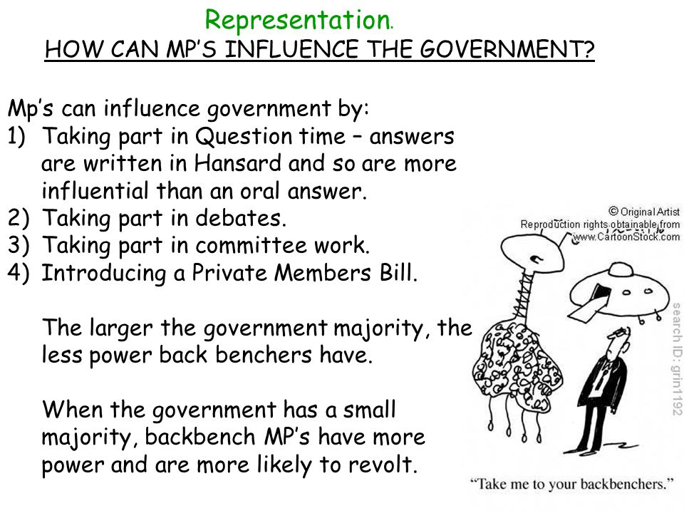 Representation.HOW CAN MPS INFLUENCE THE GOVERNMENT.