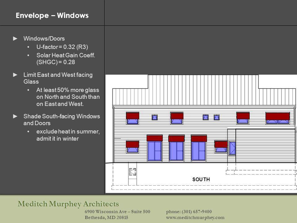 Meditch Murphey Architects 6900 Wisconsin Ave – Suite 500phone: (301) 657-9400 Bethesda, MD 20815www.meditchmurphey.com Envelope – Windows Windows/Doors U-factor = 0.32 (R3) Solar Heat Gain Coeff.