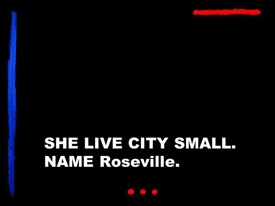 SHE LIVE CITY SMALL. NAME Roseville.