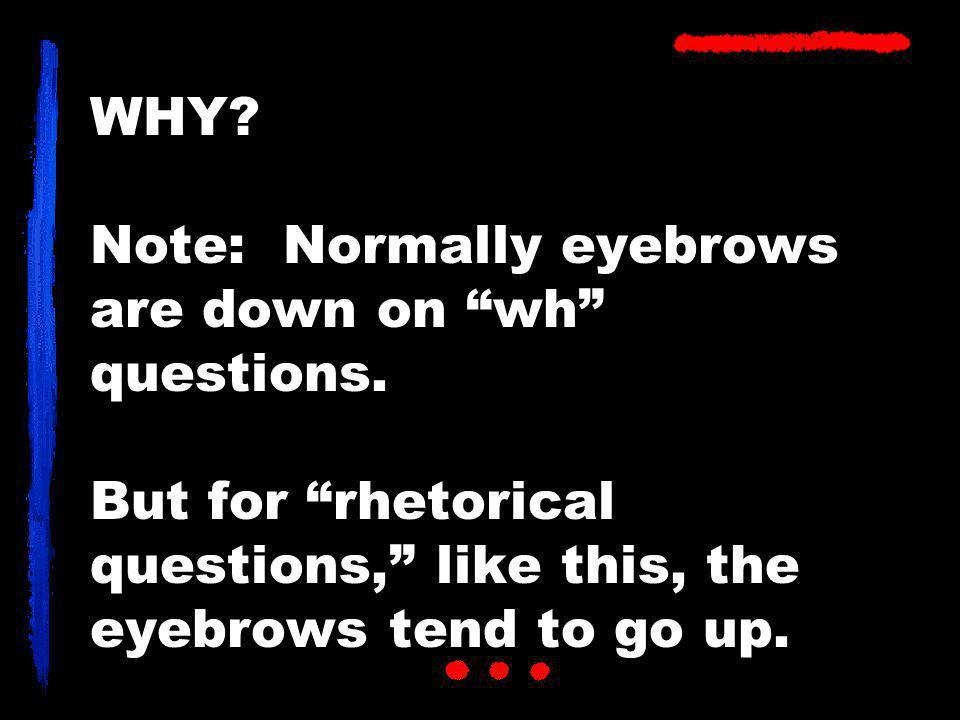 WHY. Note: Normally eyebrows are down on wh questions.