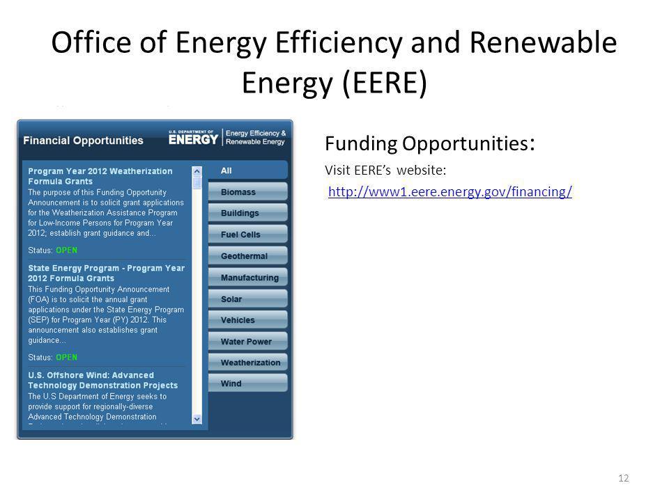 Funding Opportunities : Visit EEREs website: http://www1.eere.energy.gov/financing/ 12 Office of Energy Efficiency and Renewable Energy (EERE)