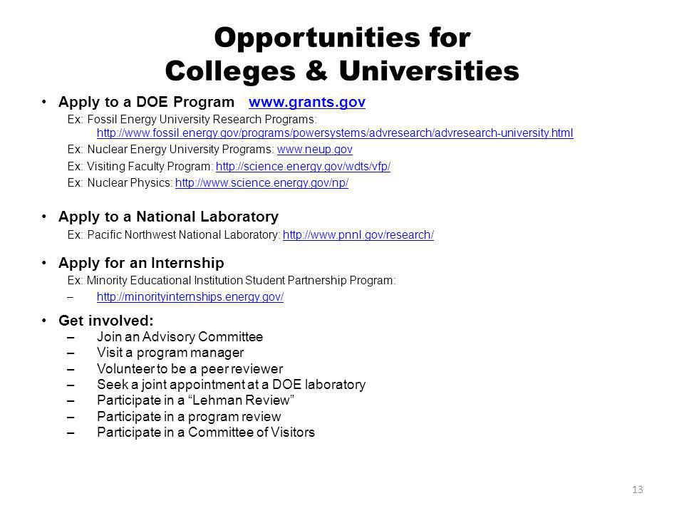 13 Opportunities for Colleges & Universities Apply to a DOE Program www.grants.govwww.grants.gov Ex: Fossil Energy University Research Programs: http://www.fossil.energy.gov/programs/powersystems/advresearch/advresearch-university.html http://www.fossil.energy.gov/programs/powersystems/advresearch/advresearch-university.html Ex: Nuclear Energy University Programs: www.neup.govwww.neup.gov Ex: Visiting Faculty Program: http://science.energy.gov/wdts/vfp/http://science.energy.gov/wdts/vfp/ Ex: Nuclear Physics: http://www.science.energy.gov/np/http://www.science.energy.gov/np/ Apply to a National Laboratory Ex: Pacific Northwest National Laboratory: http://www.pnnl.gov/research/http://www.pnnl.gov/research/ Apply for an Internship Ex: Minority Educational Institution Student Partnership Program: –http://minorityinternships.energy.gov/http://minorityinternships.energy.gov/ Get involved: –Join an Advisory Committee –Visit a program manager –Volunteer to be a peer reviewer –Seek a joint appointment at a DOE laboratory –Participate in a Lehman Review –Participate in a program review –Participate in a Committee of Visitors