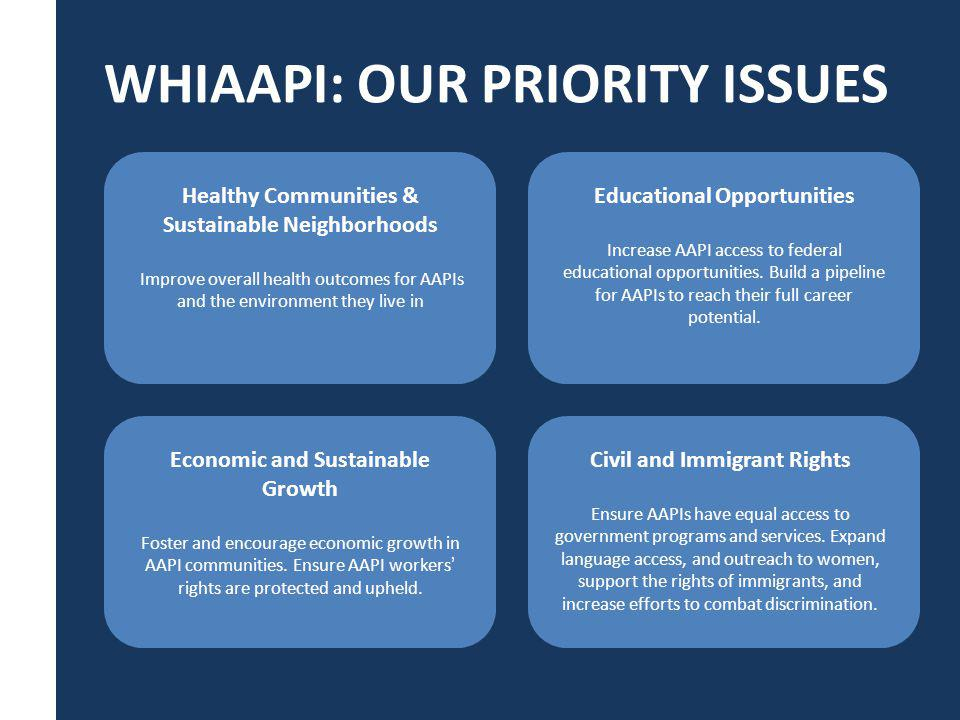 WHIAAPI: OUR PRIORITY ISSUES Healthy Communities & Sustainable Neighborhoods Improve overall health outcomes for AAPIs and the environment they live in Economic and Sustainable Growth Foster and encourage economic growth in AAPI communities.