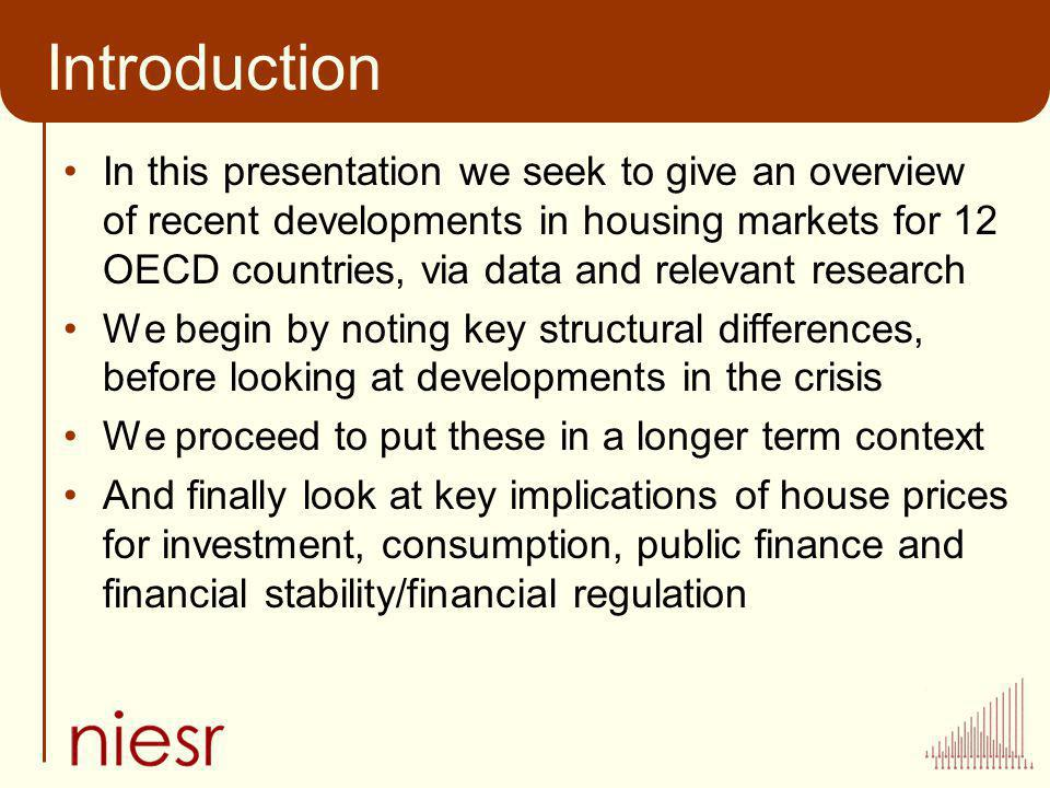 Introduction In this presentation we seek to give an overview of recent developments in housing markets for 12 OECD countries, via data and relevant r