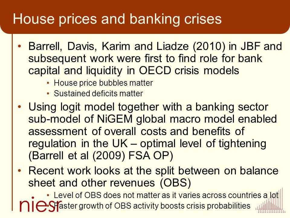 House prices and banking crises Barrell, Davis, Karim and Liadze (2010) in JBF and subsequent work were first to find role for bank capital and liquid