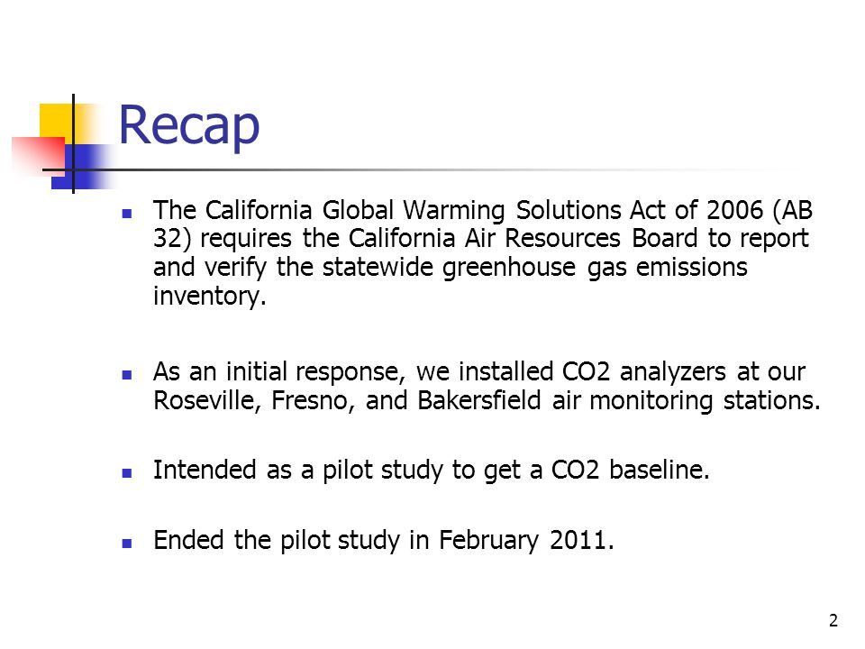 2 Recap The California Global Warming Solutions Act of 2006 (AB 32) requires the California Air Resources Board to report and verify the statewide greenhouse gas emissions inventory.