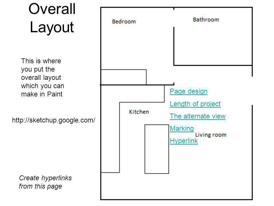 Overall Layout This is where you put the overall layout which you can make in Paint Create hyperlinks from this page Page design Length of project The alternate view Marking Hyperlink http://sketchup.google.com/