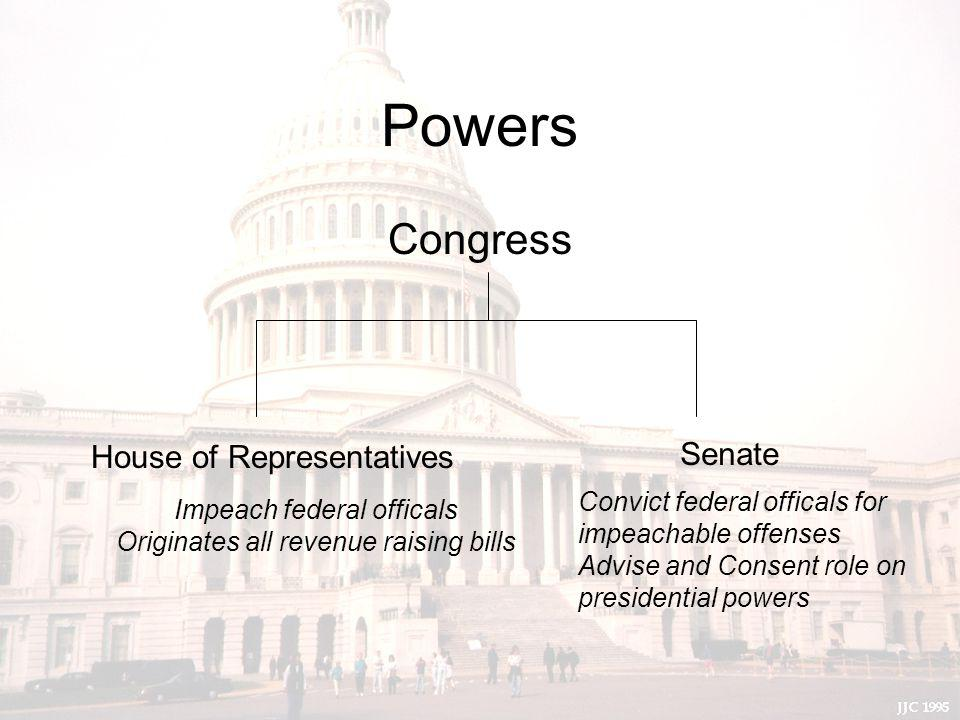 Powers Congress House of Representatives Senate Impeach federal officals Originates all revenue raising bills Convict federal officals for impeachable offenses Advise and Consent role on presidential powers