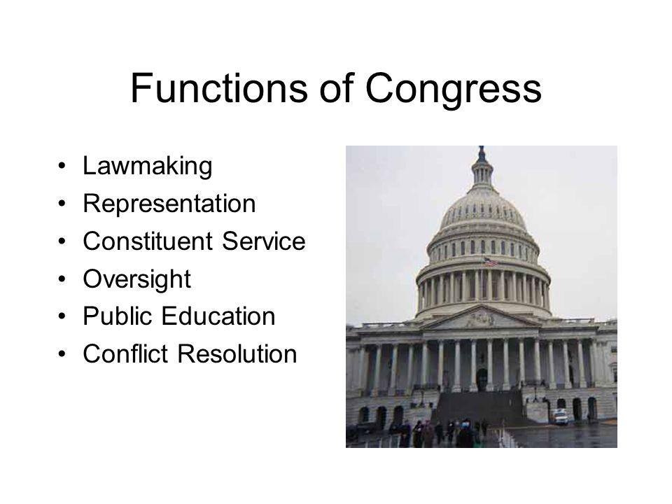 Functions of Congress Lawmaking Representation Constituent Service Oversight Public Education Conflict Resolution