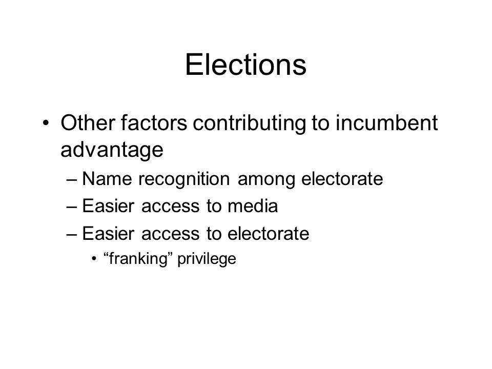 Elections Other factors contributing to incumbent advantage –Name recognition among electorate –Easier access to media –Easier access to electorate franking privilege