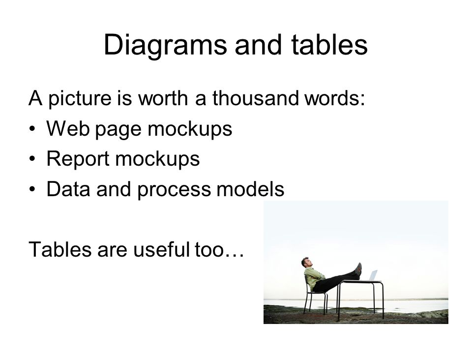 Diagrams and tables A picture is worth a thousand words: Web page mockups Report mockups Data and process models Tables are useful too…