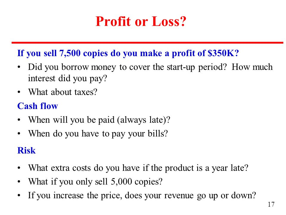 17 Profit or Loss. If you sell 7,500 copies do you make a profit of $350K.