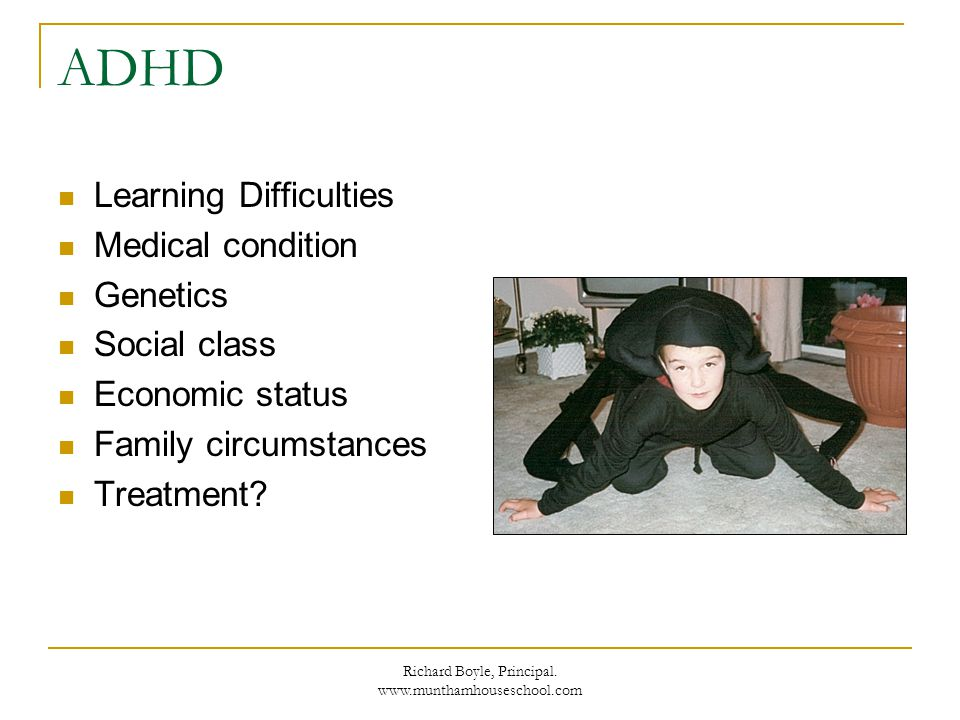 Richard Boyle, Principal. www.munthamhouseschool.com ADHD Learning Difficulties Medical condition Genetics Social class Economic status Family circums