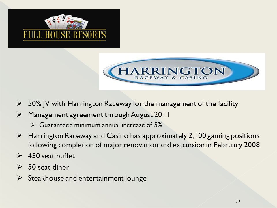 50% JV with Harrington Raceway for the management of the facility Management agreement through August 2011 Guaranteed minimum annual increase of 5% Ha