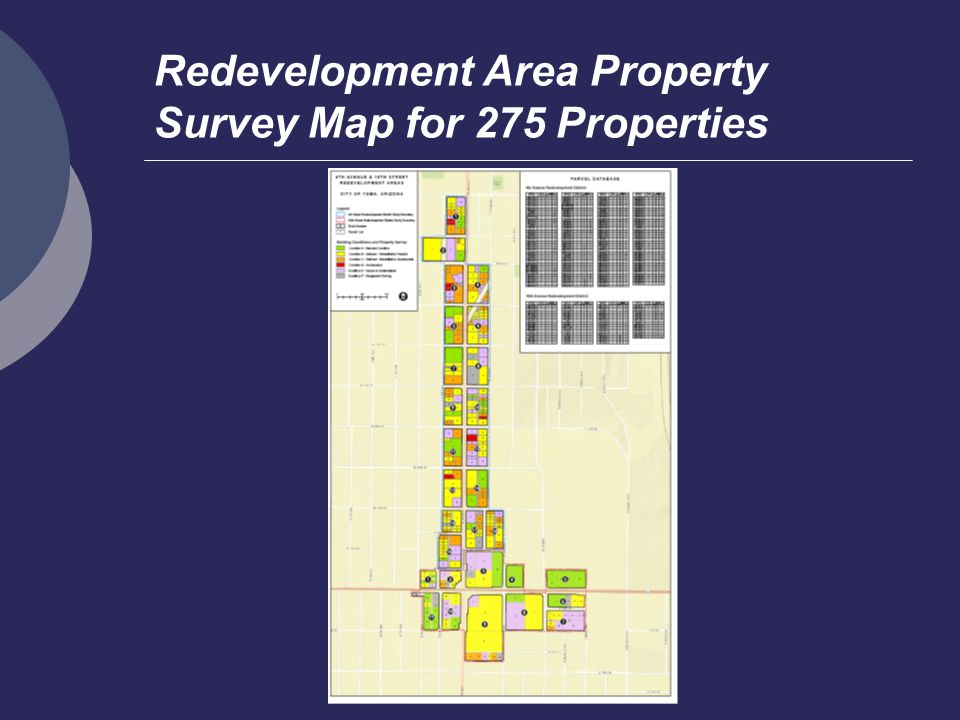 Redevelopment Area Property Survey Map for 275 Properties