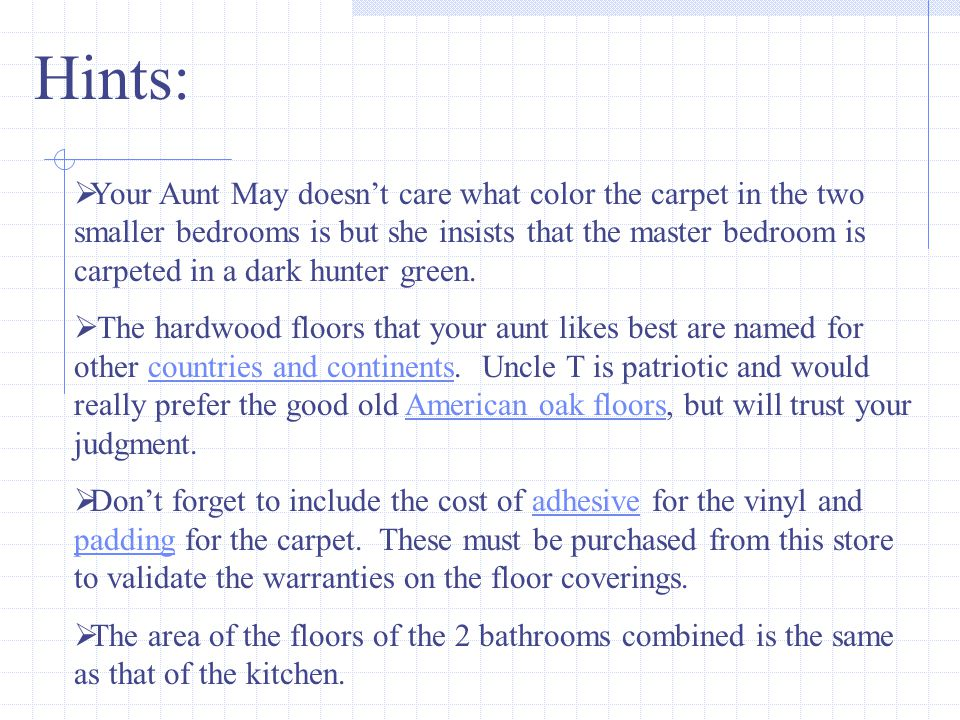 1.Use the area formula to find the number of yards of carpet required for each room.
