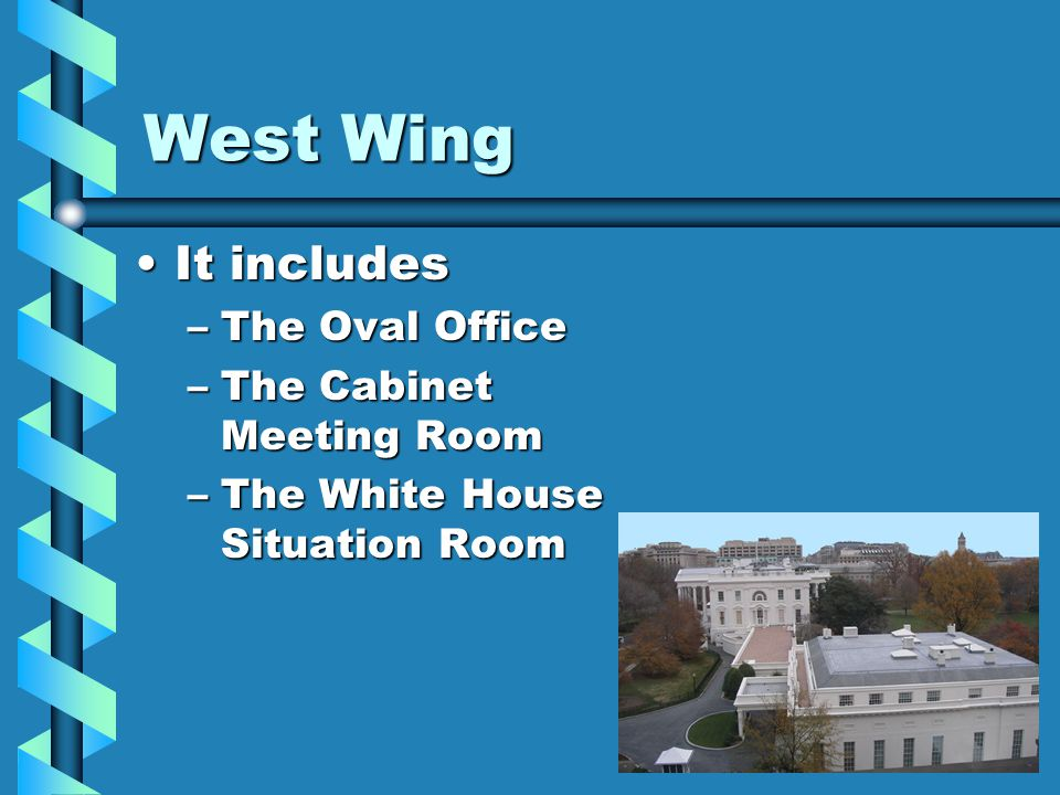 East Wing It includesIt includes –The First Ladys office –An emergency underground bunker –The White House Social Office