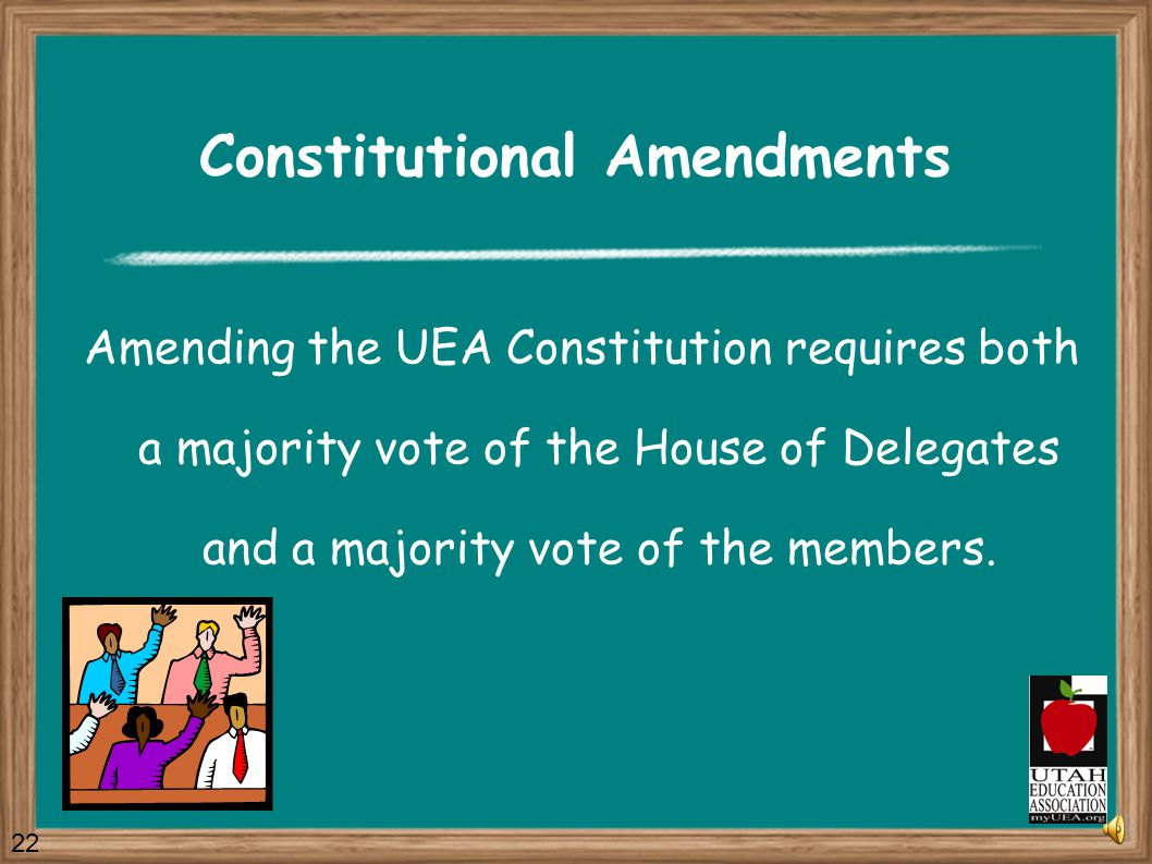 Constitution The UEA Constitution is the fundamental document governing the structure and operation of the Association. The Constitution defines membe
