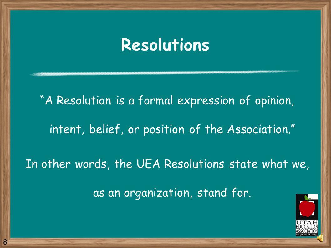 What types of proposals can I make? Resolutions New Business Items Legislative Program Amendments Budget Amendments Governing Document Amendments 7