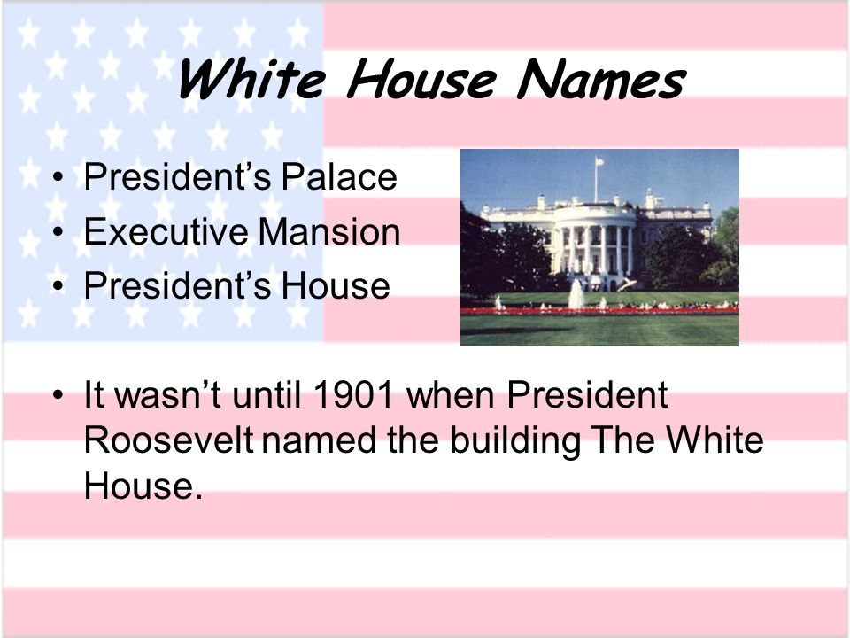 White House Names Presidents Palace Executive Mansion Presidents House It wasnt until 1901 when President Roosevelt named the building The White House.