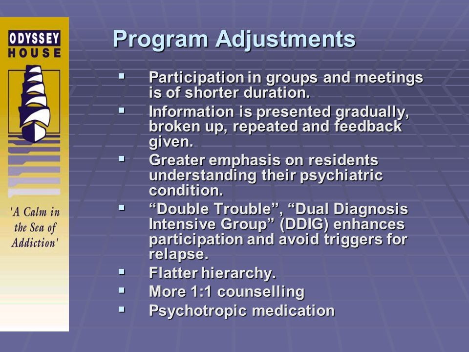 Program Adjustments Participation in groups and meetings is of shorter duration.