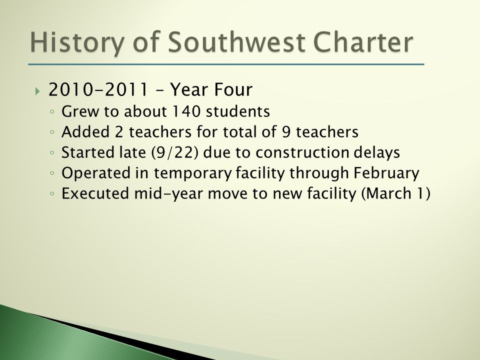 2010-2011 – Year Four Grew to about 140 students Added 2 teachers for total of 9 teachers Started late (9/22) due to construction delays Operated in t