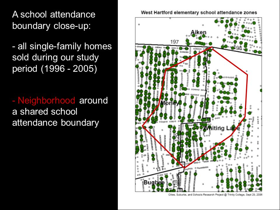 A school attendance boundary close-up: - all single-family homes sold during our study period (1996 - 2005) - Neighborhood around a shared school attendance boundary