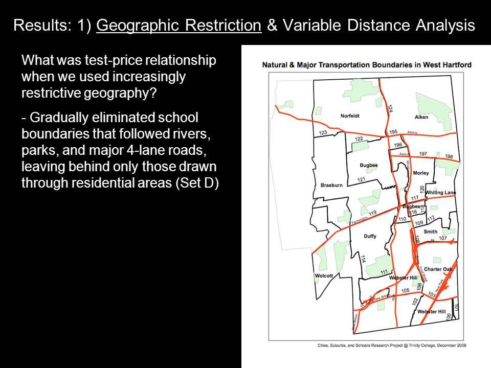 Results: 1) Geographic Restriction & Variable Distance Analysis What was test-price relationship when we used increasingly restrictive geography.