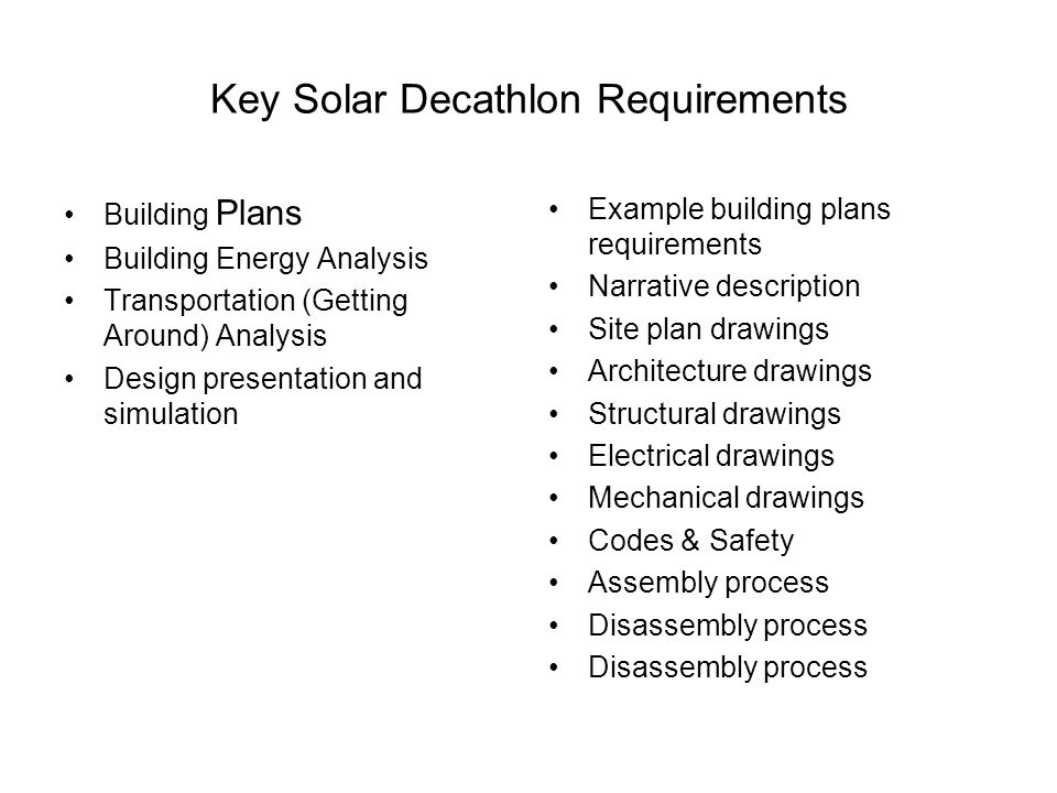 Key Solar Decathlon Requirements Building Plans Building Energy Analysis Transportation (Getting Around) Analysis Design presentation and simulation E