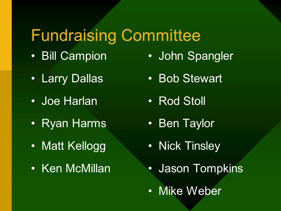 Fundraising Committee Bill Campion Larry Dallas Joe Harlan Ryan Harms Matt Kellogg Ken McMillan John Spangler Bob Stewart Rod Stoll Ben Taylor Nick Ti