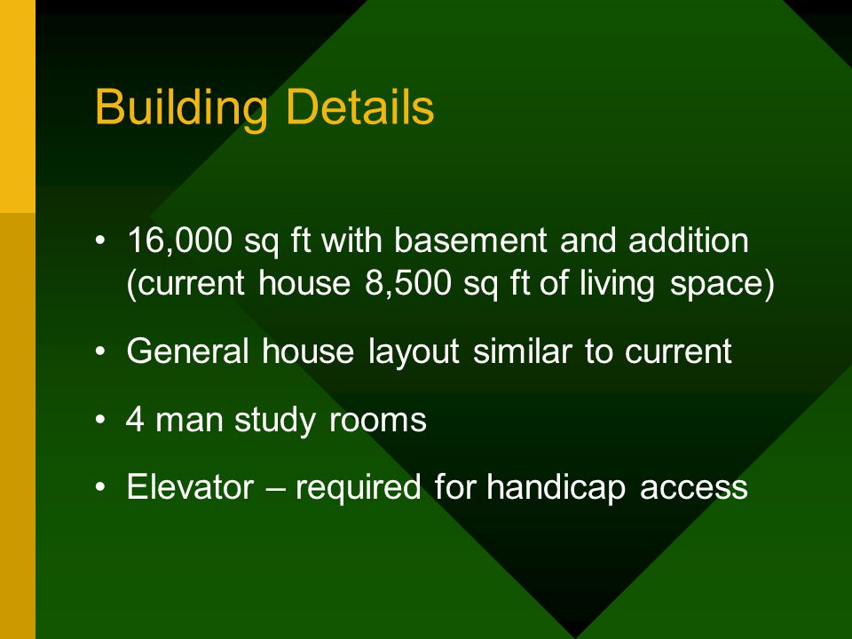 Building Details 16,000 sq ft with basement and addition (current house 8,500 sq ft of living space) General house layout similar to current 4 man stu