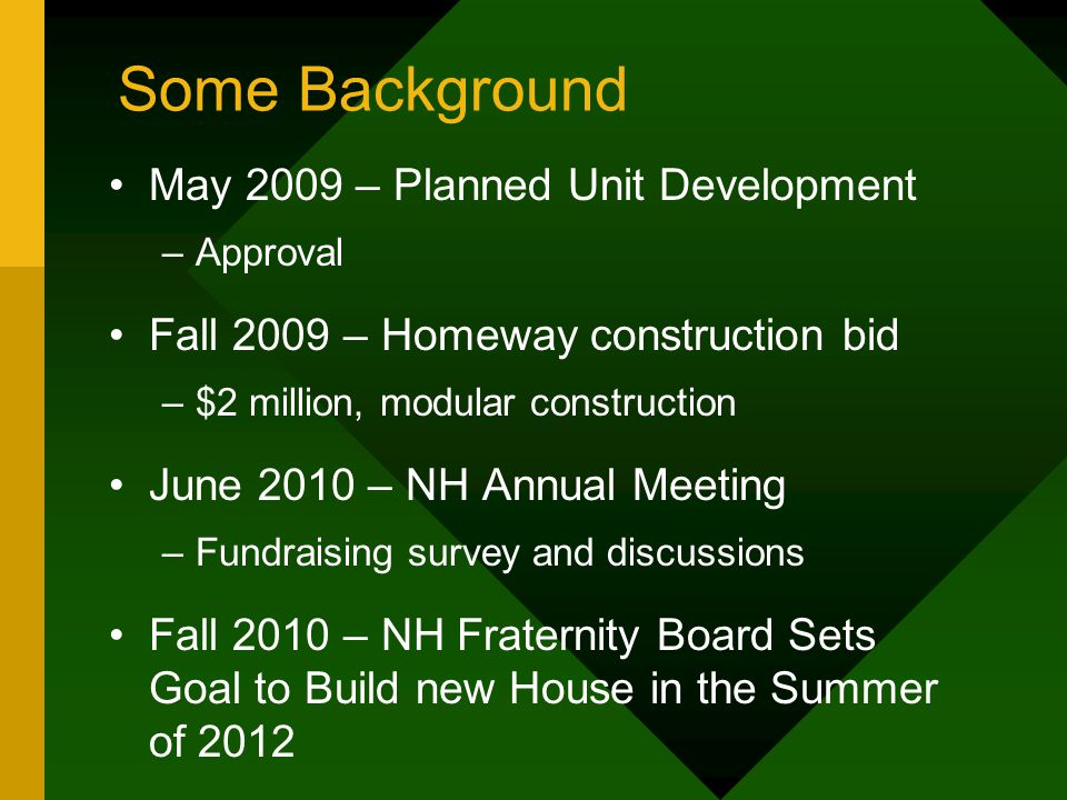Some Background May 2009 – Planned Unit Development –Approval Fall 2009 – Homeway construction bid –$2 million, modular construction June 2010 – NH An