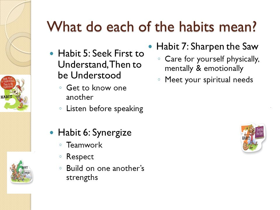 What do each of the habits mean? Habit 5: Seek First to Understand, Then to be Understood Get to know one another Listen before speaking Habit 6: Syne