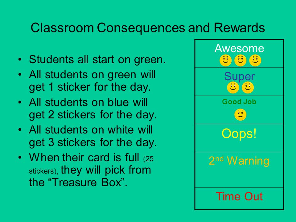 Classroom Consequences and Rewards Students all start on green. All students on green will get 1 sticker for the day. All students on blue will get 2