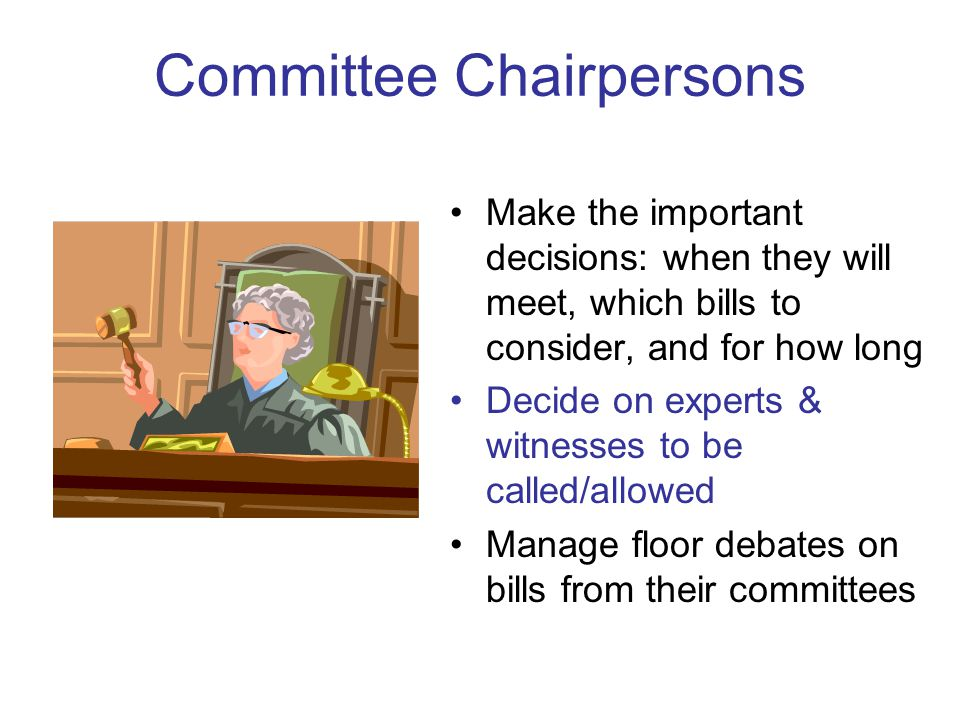 Committee Chairpersons Make the important decisions: when they will meet, which bills to consider, and for how long Decide on experts & witnesses to b