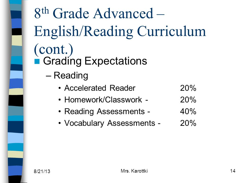 8 th Grade Advanced – English/Reading Curriculum (cont.) Grading Expectations –Reading Accelerated Reader20% Homework/Classwork - 20% Reading Assessme