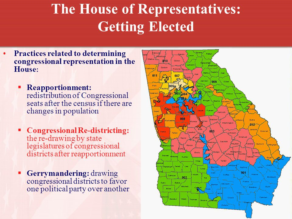 The House of Representatives: Getting Elected Practices related to determining congressional representation in the House : Reapportionment: redistribution of Congressional seats after the census if there are changes in population Congressional Re-districting: the re-drawing by state legislatures of congressional districts after reapportionment Gerrymandering: drawing congressional districts to favor one political party over another